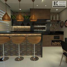 Área gourmet Basement Bar Designs, Home Bar Designs, Interior Design Kitchen, Modern Interior, Kitchen Decor, Modern House Plans, Black Kitchens, Decoration, Sweet Home