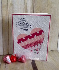 handmde Valentine card: Love Blossom s...from Rambling Rose Studio by Billie Moan ... negative space die cut heart back with strips of designer papers ... could be washi papers .. great card!