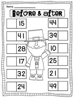 Before and after numbers fun for St. Patrick's Day