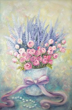 Buy Flowers from Provence, Oil painting by Viktorija Labinaitė on Artfinder. Discover thousands of other original paintings, prints, sculptures and photography from independent artists. Decoupage Vintage, Decoupage Paper, Vintage Art, Cartoon Drawings, Art Drawings, Watercolor Flowers, Watercolor Paintings, Watercolor Illustration, Vintage Flowers