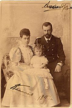 Grand Duke Alexander, Grand Duchess Xenia and one of their children (Possibly Princess Irina)