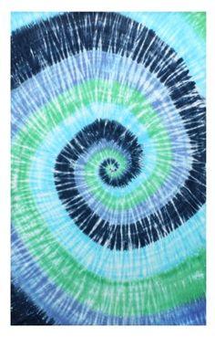 Sunshine Joy Blue Green Spiral Tie-Dye Tapestry Hanging Wall Art - Great for Apartments, Dorms, Homes, and Office Tie Dye Tapestry, Dorm Tapestry, Tapestry Beach, Tapestries, Dorm Room Colors, Wall Colors, Tie Dye Wandteppich, Hippie Shop, Spiral Tie Dye