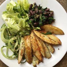 Basil potato wedges pesto spinach beans and cucumber  #happy #health #healthy #healthyfood #food #fitness #fuel #glutenfreevegan #vegan #veganism #plantbased #plantpower #plantprotein #crueltyfree #dairyfree #healthylunch by plantlovinflo