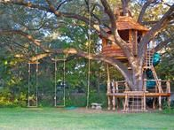 Attie Jonker's  clients can escape to (or from) this treehouse via stick ladder, rope ladder, trap door or 200-foot zip line. Built around a cedar elm for a former basketball player in San Antonio, Texas, it's comprised of Southern juniper, treated lumber and old cedar fencing cut like shingles as siding.