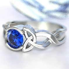Celtic Blue Sapphire Ring With Trinity Knot by CelticEternity