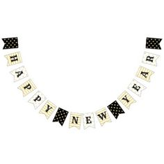 Faux Gold Stars Stripes Happy New Years Eve Party Bunting Flags - diy cyo personalize design idea new special custom