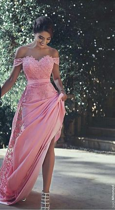 Lace long pink dress