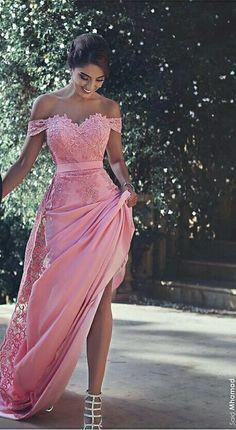 Lace long pink dress