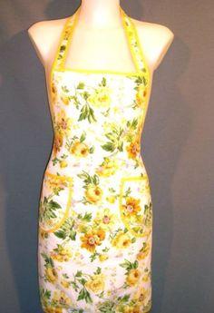 OS-Women-Yellow-Rose-Print-Full-Kitchen-APRON-Halter-Rockabilly-50s-Vintage-Look