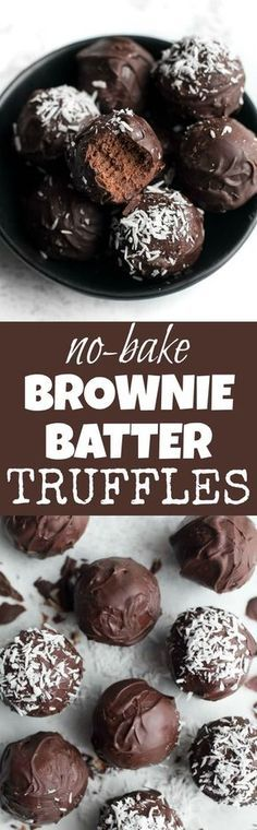 Healthy No Bake Brownie Batter Truffles that taste and feel just like a batch of soft-baked brownies but are made with NO flour, oil, eggs, or refined sugar! | runningwithspoons...