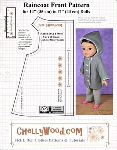 Free Hooded Raincoat PDF Doll Clothes Patterns – Free Doll Clothes Patterns Source by beagledogmom patterns Sewing Doll Clothes, American Doll Clothes, Baby Doll Clothes, Sewing Dolls, Barbie Clothes, Ag Dolls, Girl Dolls, Doll Dress Patterns, Baby Clothes Patterns