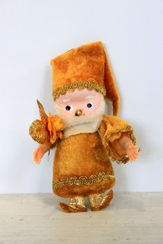 vintage little gold elf ornament // 1970 // gold by umbrellafant, $6.00