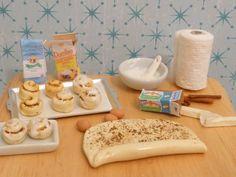 Miniature Dollhouse Cinnamon Roll Preparation Scene. $36.00, via Etsy.