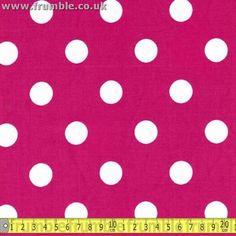 Large 20mm Polka Dot Cerise Spot 100% Cotton Poplin Fabric Per Metre (1m) | eBay