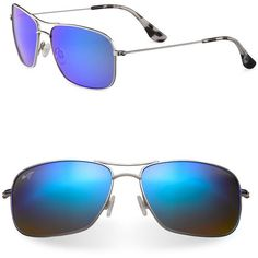 Maui Jim Wiki Wiki Aviator Sunglasses ($299) ❤ liked on Polyvore featuring men's fashion, men's accessories, men's eyewear, men's sunglasses, silver, mens vintage sunglasses and maui jim mens sunglass