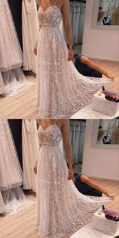 A-Line Prom Dresses,Spaghetti Straps Prom Dresses,Light Champagne Prom Dresses,Beaded Prom Dresses,Lace Appliques Prom Dresses,Prom Dresses 2017,Party Dresses,Wedding Dresses 2017,Bridal Dresses