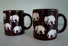 Pair of Vintage Waechtersbach Elephant Mugs  от FoundByMichelle