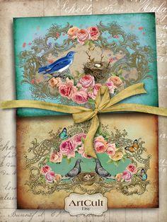Descargar imprimibles NIDITO de amor Digital Collage hoja tarjetas Victorian Vintage articles shabby chic rosas papel arte culto arte diseños de ArtCult en Etsy https://www.etsy.com/es/listing/70547844/descargar-imprimibles-nidito-de-amor