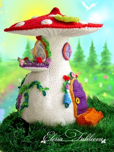 """Грибной"" домик. Champignon Crochet, Crochet Mushroom, Mushroom House, Crochet Home, Crochet Fairy, Crochet Dolls, Knit Crochet, Handmade Toys, Yarn Crafts"