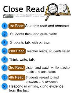 FREE Close Read Download~ This short, easy-to-understand explanation of close reading instruction really helps clarify the process and reasons behind the approach. This is the best, short-and-simple resource related to this important CCSS mandate that I've found, so far!  Check it out @ http://wwwatanabe.blogspot.com/2013/04/close-read-complex-text-and-annotate.html