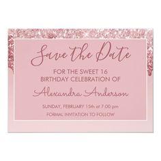 Rose Gold Glitter Sweet 16 Save the Date Invitation #Ad , #Ad, #Sweet#Date#Save#Rose Birthday Balloon Surprise, Sweet 16 Birthday, 16th Birthday, Birthday Balloons, Save The Date Invitations, Create Your Own Invitations, Zazzle Invitations, Rose Gold Pink, Rose Gold Glitter