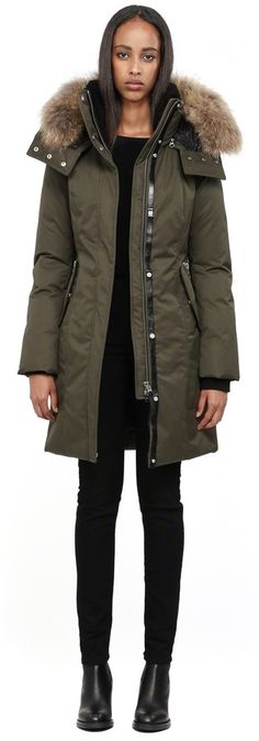 Mackage Kerry Long Army Winter Down Parka With Fur Hood