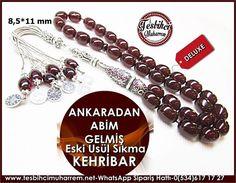 Eski Usül Sıkma Kehribar Tesbih 8,5*11 mm Ankaradan Abim Gelmiş Ürün Kodu: TM7440
