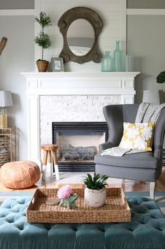 Summer House Tour - The Inspired Room Fireplace