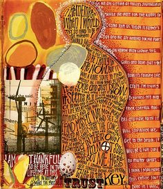Teesha Moore.... love the stripes with the journaling - her subject is one i struggle with. I spent too much time thinking instead of living in the moment