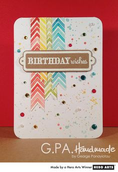 great use of a chevron stamp with Distress Ink -- card by GPAHandmade