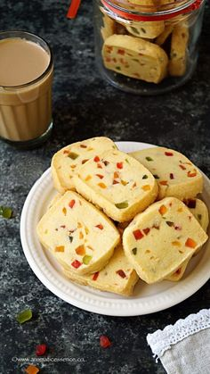 Karachi biscuits are popular Indian tea time cookies. These egg-free fruit biscuits have derived their name from the famous 'Karachi bakery' in Hyderabad, India. They are sweet, crumbly, melt in the mouth, studded with candied fruits and flavored with two Fruit Biscuits, Homemade Biscuits, Coffee Biscuits, Bakery Recipes, Cookie Recipes, Dessert Recipes, Cupcake Recipes, Delicious Desserts, Snack Recipes