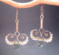 Nouveau 80 Hammered swirl earrings with tiny ivory pearls and green amethyst