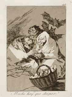 "Francisco de Goya: ""Mucho hay que chupar"". Serie ""Los caprichos"" [45]. Etching and aquatint on paper, 204 x 149 mm, 1797-99. Museo Nacional del Prado, Madrid, Spain"