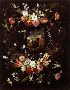 Wreath of Flowers with the 'Noli me Tangere' / Guirnalda de flores con el 'Noli me Tangere' // 17th century // Daniel Seghers // Museo Bellas Artes Valencia // #Jesus #MaryMagdalene