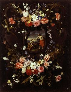Daniël Seghers (1590–1661) — Garland of Flowers with the 'Noli me Tangere'  : Museo de Bellas Artes, Valencia.  Spain  (623x800)