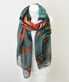 Another great find on #zulily! Gray & Teal Tribal Scarf by TROO #zulilyfinds