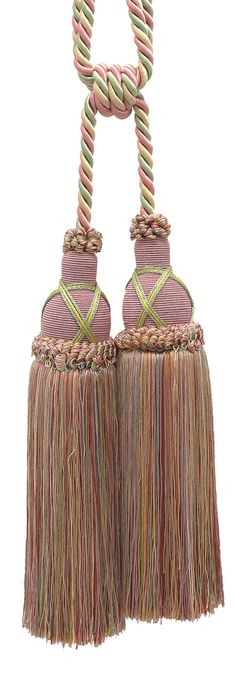 """Beautiful Dusty Rose, Pastel Green, Lt Gold Curtain and Drapery Double Tassel Tieback / 10"""" tassel, 30 1/2"""" Spread (embrace), 3/8"""" Cord, Imperial II Collection Style# TBIC-2 Color: ROSE GARDEN 3549"""