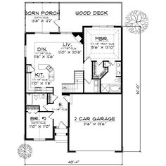 Home Plans - Square Feet, 2 Bedroom 2 Bathroom European Home with 2 Garage Bays **Push the kitchen & dining through to screened porch. Add a bedroom in its place. Now basement stairs. 2 Bedroom House Plans, Basement House Plans, Ranch House Plans, Best House Plans, Dream House Plans, Small House Plans, House Floor Plans, Basement Stairs, Br House