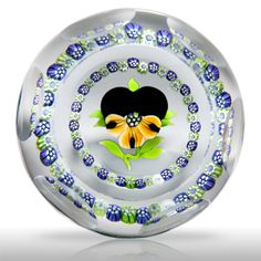 J Glass 1980 faceted pansy and garland paperweight, by Allan Scott.