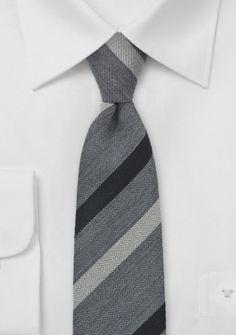 Krawatte Woll-Gewebe silbergrau Linien