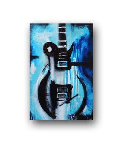 Guitar Painting Blue & Black Abstract Painting Large Original Painting on Canvas Contemporary Wall Art 36x24 by Heather Day
