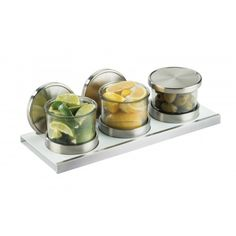 Luxe Chilled Mixology Organizer Item: 3492-4-15 - with Solid Lids 3492-4-15HL - with Hinged Lids 3492-4-15NL - with Notched Lids Transform the way you serve and use condiments with this chilled Luxe Mixology Organizer. The set includes three jars which each feature a stainless steel base, a cold puck, a glass jar, and a silicone sealed solid lid.