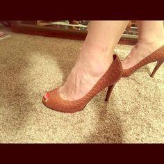 Ralph Lauren Brown Leather Peep Toe Shoes Barely worn, very comfortable. Ralph Lauren Shoes Heels