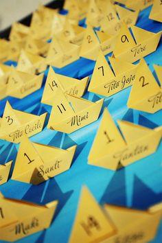 Origami Sailboat Escort Cards - Wedding Belles Blog