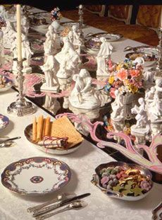 In our recreation, we aimed at producing a setting in which the Vicomte de Choiseul & his guests would have felt at home. The large variety of confectionery and ices (45 different items) seems overwhelming to us today, but is correct for an  important court dessert of this period. All confectionery & ices are from recipes in Gillier's Le Cannameliste Français Nancy 1750, Menon's La Science du Maître d'Hôtel Confiseur Paris 1758 (3rd ed) 's L'Art de Bien Faire Les Glaces d'Office Paris 1768.