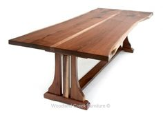 Live Edge Refined Rustic Dining Table with Trestle Base by Woodland Creek Furniture in Custom Made Sizes.