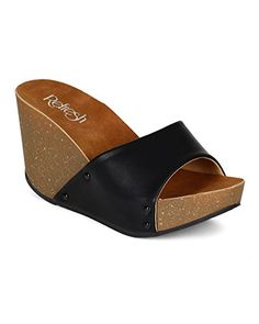 Refresh CA65 Women Leatherette Open Toe Studded Single Band Cork Platform Wedge Sandal - Black (Size: 10) *** Details can be found at