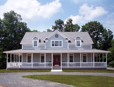 Surrounded by porches and with a deck to boot, this farmhouse design offers fabulous outdoor living space and bright, airy rooms inside. Country Farmhouse Decor, Farmhouse Design, Southern Farmhouse, Country Homes, Farmhouse Décor, Modern Farmhouse Plans, Country House Plans, Southern Homes, Farmhouse Ideas