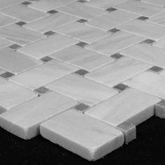 (http://www.carraratiles.com/carrara-marble-italian-white-bianco-carrera-basketweave-mosaic-tile-with-bardiglio-gray-dots-honed.html)
