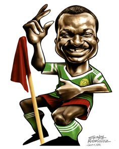 Roger Milla (Cameroon, 1973–1994, 102 caps, 28 goals), 1990 FIFA World Cup Italy. Artistic caricatures by Gonza Rodriguez.